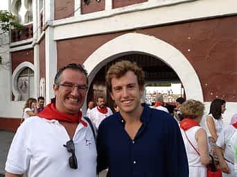 Con J. Javier Corpas Mauleón, el diestro Román, que acudió a Estella para ver torear a su colega y amigo Javier Marín. Fiestas de Estella de 2018.