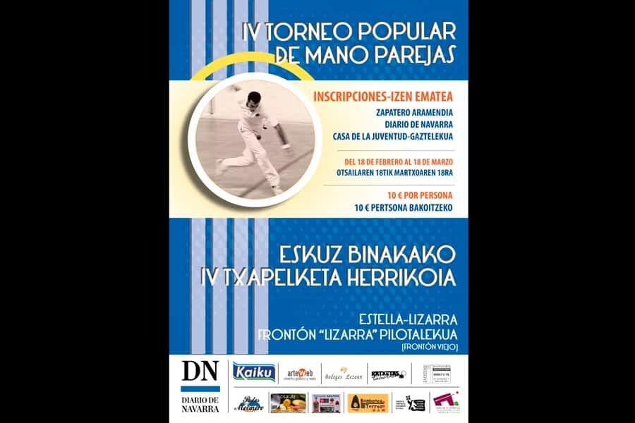 Inscripciones hasta el 18 de marzo para el IV Torneo Popular de Mano Parejas de Estella