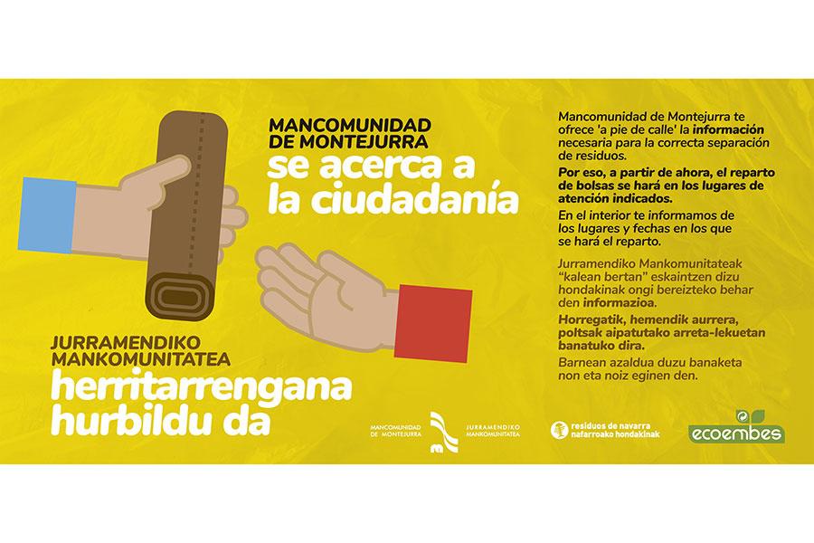 Mancomunidad de Montejurra reparte las bolsas de basura e informa sobre la separación de residuos