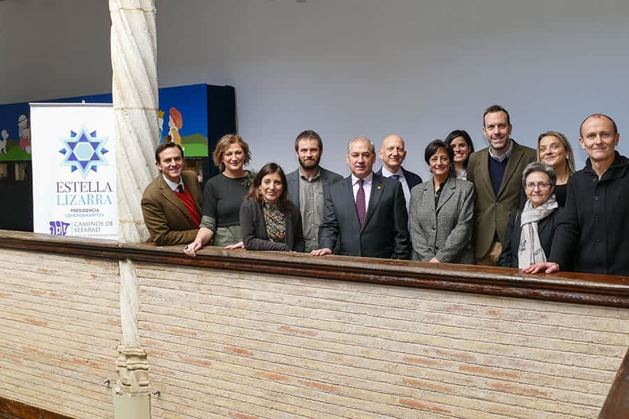 Representantes de localidades de  la Red de Juderías, reunidos en Estella