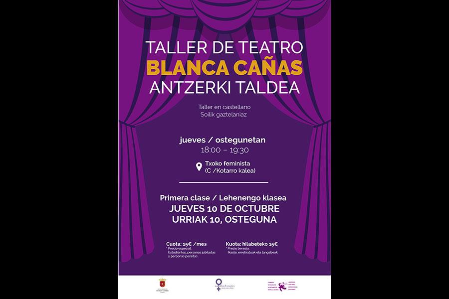 El Taller de teatro Blanca Cañas vuelve en octubre