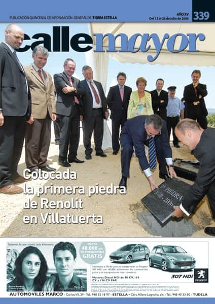 CALLE MAYOR 339 – COLOCADA LA PRIMERA PIEDRA DE RENOLIT EN VILLATUERTA