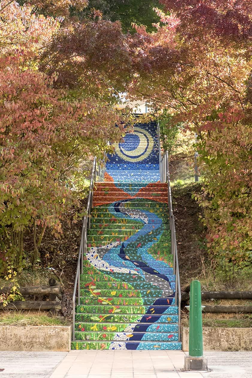 Mural en escalera