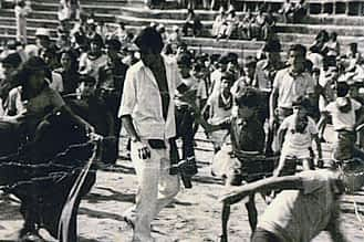 1974. Carlos Arrieta torea una vaquilla.