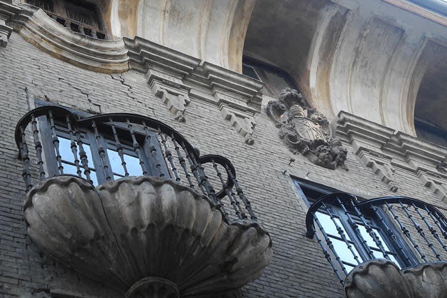 """Casa Palacio de los Munárriz, popularmente conocida como """"Casa de las Conchas"""", ubicada en la Calle Mayor de Estella - Lizarra"""