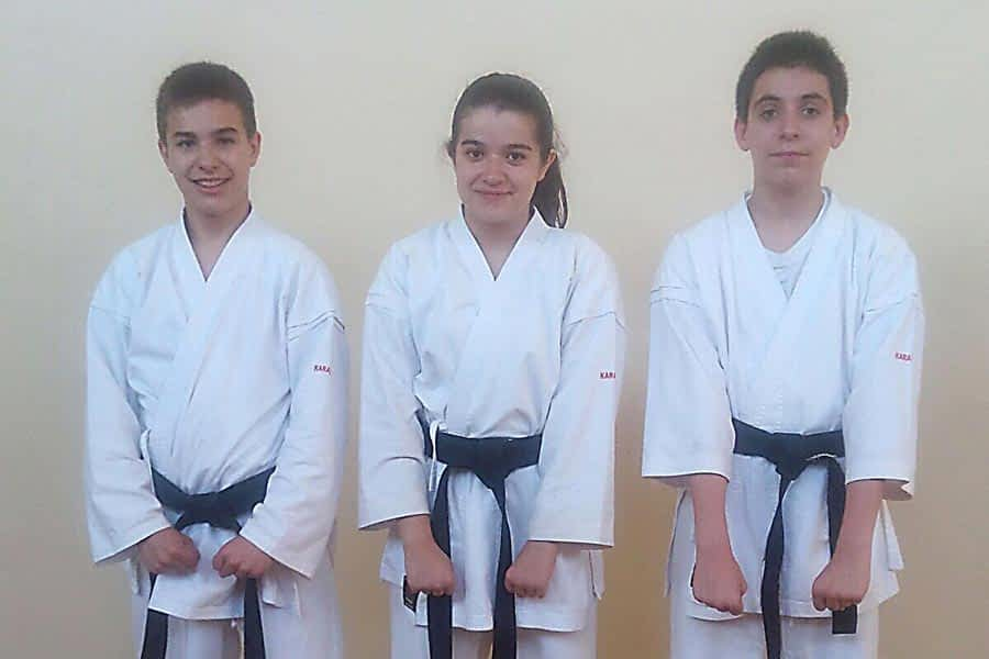 José, Inés y Mikel ya son cinturón negro infantil de kárate