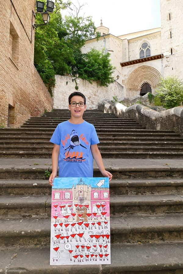 """Mikel Rada Miranda – Ganador del cartel en la categoría txiki con 'Cohete infantil' – """"De mayor, me gustaría ser pintor. Me pasaría el día pintando Estella"""""""