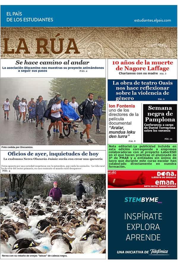 El periódico escolar 'La Rúa', finalista de Navarra para optar a un concurso de El País