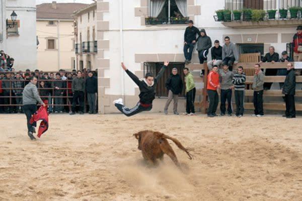 Villatuerta abrió la temporada de vacas con una cogida