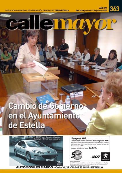 CALLE MAYOR 363 – CAMBIO DE GOBIERNO EN EL AYUNTAMIENTO DE ESTELLA